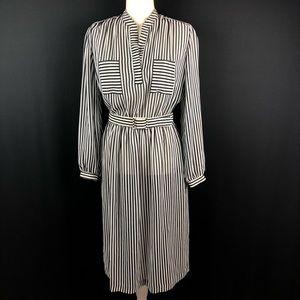 Murray Meisner Vintage Stripe Chiffon Belted Dress